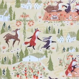 Dear Stella Poplin fabric - yellow Strawberry Field  x 10cm