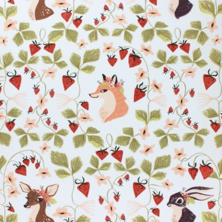 Dear Stella Strawberry Field Poplin fabric - white Portraits x 10cm