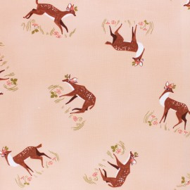 Dear Stella Strawberry Field Poplin fabric - Peach Fawns x 10cm