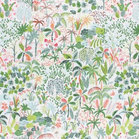 Dear Stella Lion Around Poplin fabric - white Rainforest x 10cm