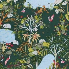 Dear Stella Lion Around Poplin fabric - Green Jungle life x 10cm
