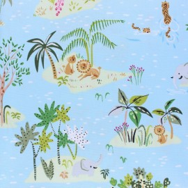 Dear Stella Lion Around Poplin fabric - blue Island life x 10cm