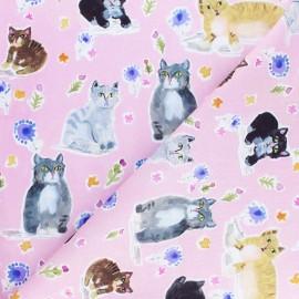 Dear Stella cotton Poplin fabric - pink Purrty x 10cm