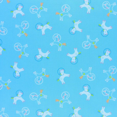 Dear Stella Space Magic Poplin fabric -  blue Unicorns Space x 10cm