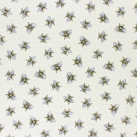 Timeless Treasures cotton fabric - Yellow Tossed bee x 10cm