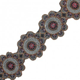 75 mm Embroidered Indian Trim - Shiva Red x 50cm