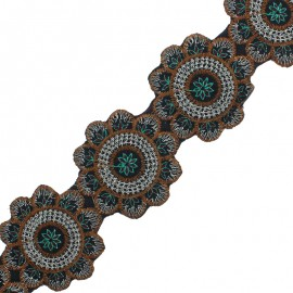 75 mm Embroidered Indian Trim - Shiva Green x 50cm