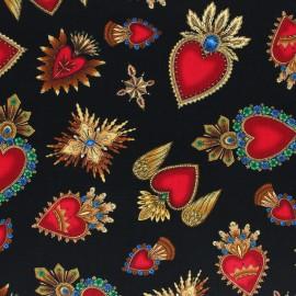 Tissu coton Timeless Treasures - Sacred Heart - noir x 10cm