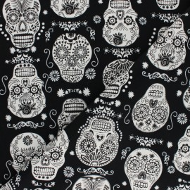 Timeless Treasures Glow in the dark cotton fabric - Black Folklore Skull x 10cm