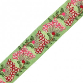 55 mm Embroidered Indian Trim - Ramayana Green x 50cm