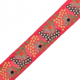 55 mm Embroidered Indian Trim - Ramayana Red x 50cm