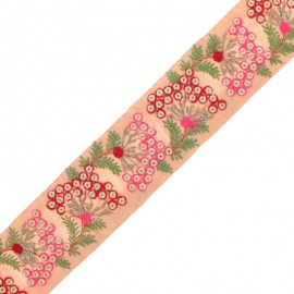 55 mm Embroidered Indian Trim - Ramayana Pink x 50cm