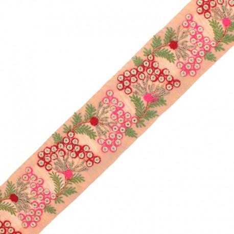 Galon India Brodé Ramayana 55 mm - Rose x 50cm