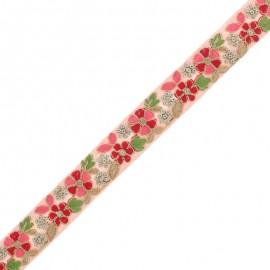 28 mm Embroidered Indian Trim - Nandi Pink x 50cm