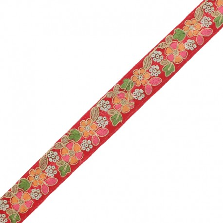 28 mm Embroidered Indian Trim - Nandi Red x 50cm