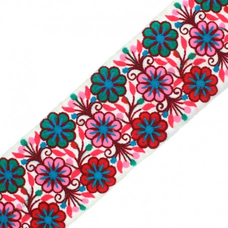 90 mm Embroidered Indian Trim - Vishnu Red x 50cm