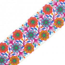 90 mm Embroidered Indian Trim - Vishnu Fuchsia x 50cm