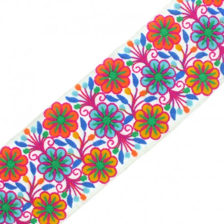90 mm Embroidered Indian Trim - Vishnu Fuchsia x 50cm