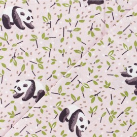 Coated cretonne Cotton fabric - light pink Panda x 10cm