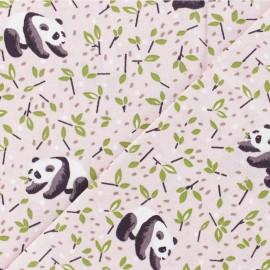 Tissu coton cretonne enduit Panda - rose x 10cm