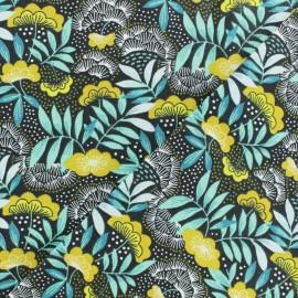 Coated cretonne cotton fabric - yellow Nagoya x 10cm