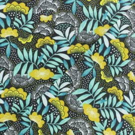 Tissu coton cretonne enduit Nagoya - jaune x 10cm