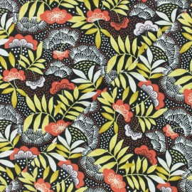 Tissu coton cretonne enduit Nagoya - rouge x 10cm