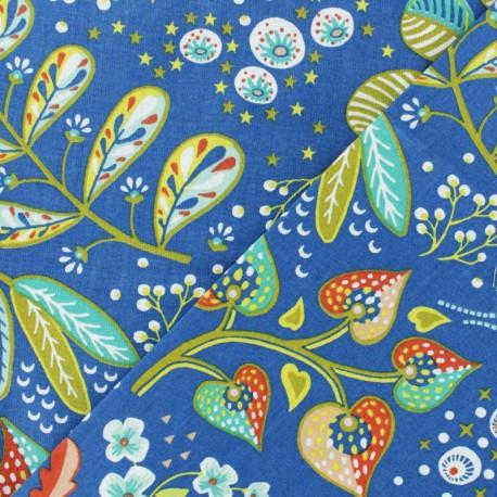Cretonne cotton fabric - blue Ancolie x 10cm