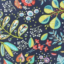Tissu coton cretonne enduit Ancolie - bleu x 10cm