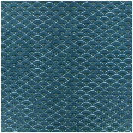 Coated cretonne cotton fabric - blue Ancolie x 10cm
