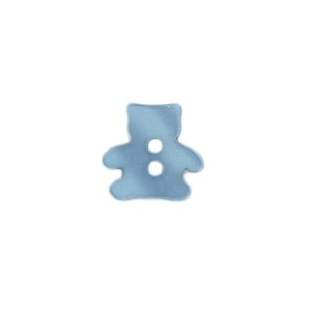 Bouton Polyester Aspect Nacré Ourson - Bleu Ciel