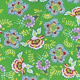 Flowery Viscose fabric - green Indra x 10cm