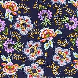 ♥ Coupon 30 cm X 140 cm ♥ Flowery Viscose fabric - navy blue Indra