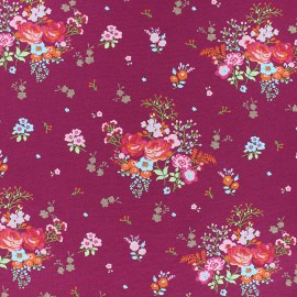 Poppy Jersey fabric - burgundy Fields of flowers x 10cm