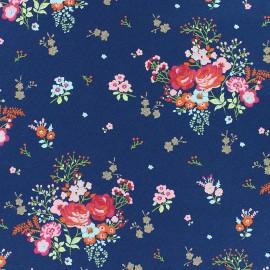 Tissu jersey Poppy Fields of flowers - noir x 10cm