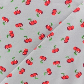 Poppy Jersey fabric - Grey Pop cherry x 10cm