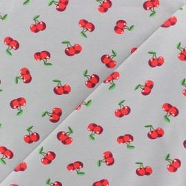 Tissu jersey Poppy Pop cherry - blanc x 10cm