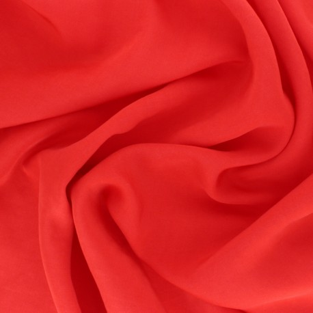 Embroidered Voile Viscose fabric - Red small flower x 10cm