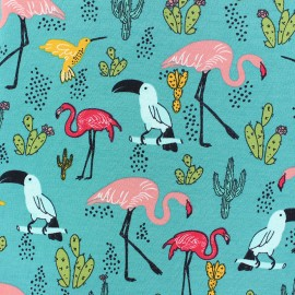 Tissu sweat léger Poppy Tropical Paradise - bleu paon x 10cm