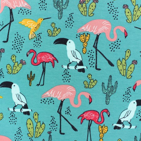 Poppy French Terry fabric - Peacock Blue Tropical Paradise x 10cm