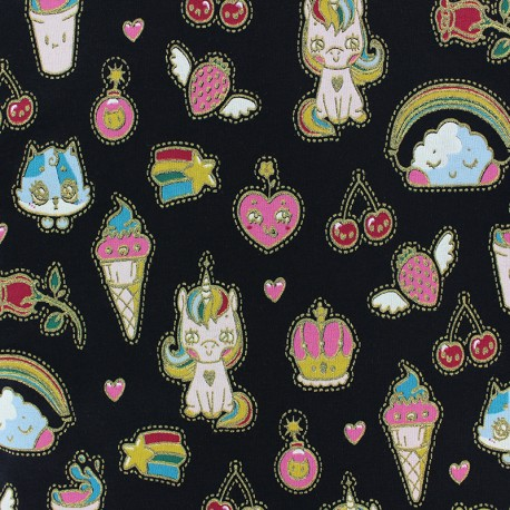 Poppy French Terry fabric - Black Candy Dream x 10cm