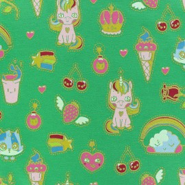 Poppy French Terry fabric - Green Candy Dream x 10cm