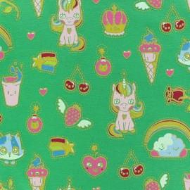 Tissu sweat léger Poppy Candy Dream - vert x 10cm