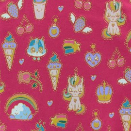 Poppy French Terry fabric - pink Candy Dream x 10cm