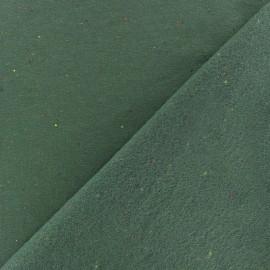 Tissu sweat moucheté - vert kaki x 10cm
