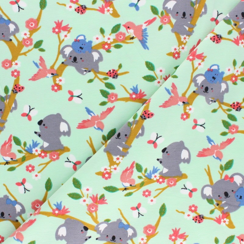 Tissu jersey Poppy Koala Dream vert x 10cm