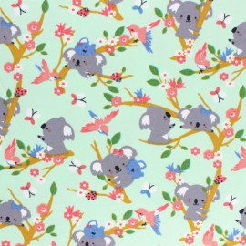 Tissu jersey Poppy Koala Dream - vert x 10cm