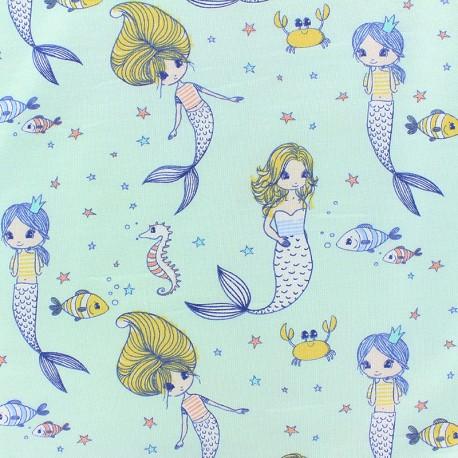 Tissu jersey Sereine Baleine - bleu x 10cm