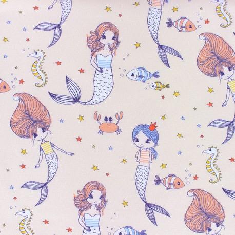 Tissu jersey La petite sirène - bleu x 10cm