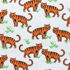 Cotton Jersey fabric - White Tiger x 10cm
